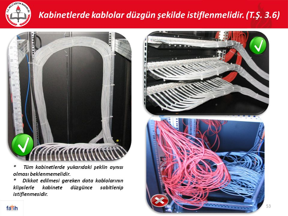 Kabinetlerde kablolar düzgün şekilde istiflenmelidir. (T.Ş. 3.6) 53 * Tüm kabinetlerde yukarıdaki şeklin aynısı olması beklenmemelidir. * Dikkat edilm