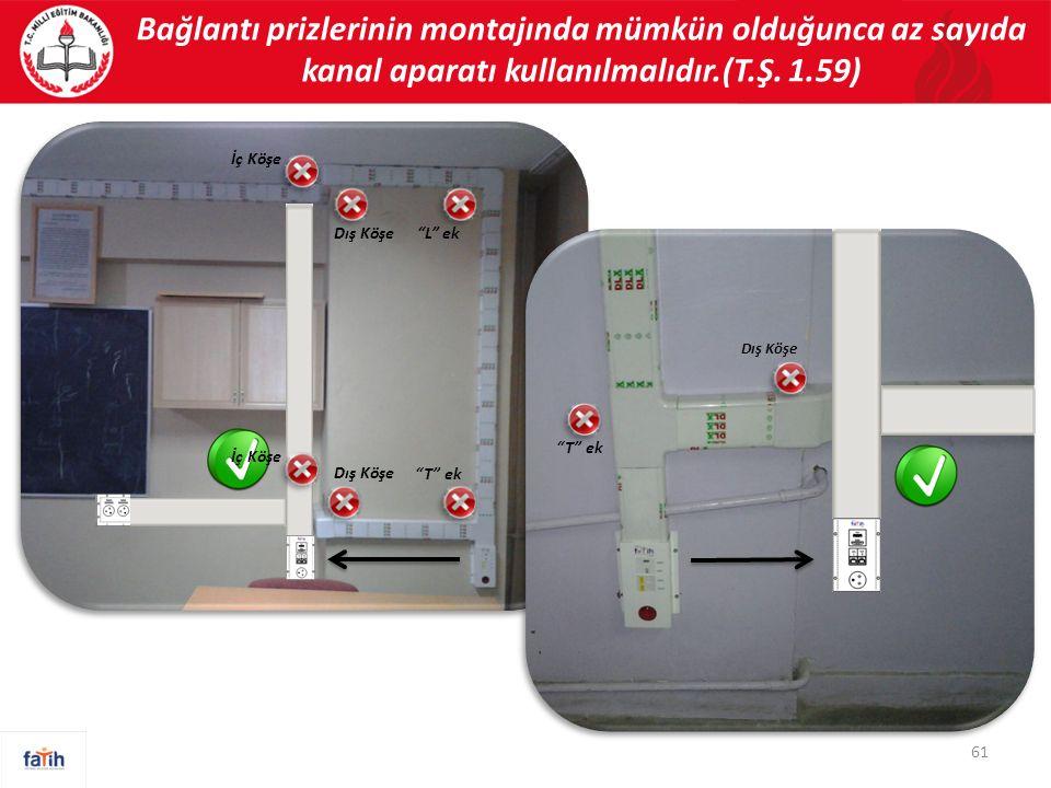 """Bağlantı prizlerinin montajında mümkün olduğunca az sayıda kanal aparatı kullanılmalıdır.(T.Ş. 1.59) 61 """"T"""" ek Dış Köşe """"L"""" ekDış Köşe İç Köşe """"T"""" ek"""