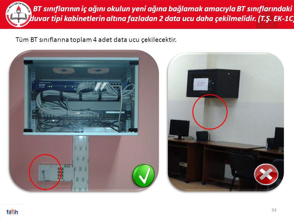 BT sınıflarının iç ağını okulun yeni ağına bağlamak amacıyla BT sınıflarındaki duvar tipi kabinetlerin altına fazladan 2 data ucu daha çekilmelidir. (