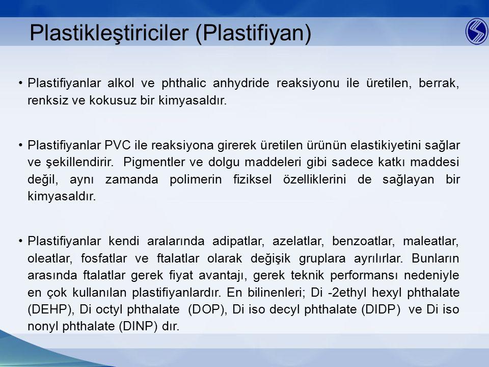 Plastikleştiriciler (Plastifiyan) Plastifiyanlar alkol ve phthalic anhydride reaksiyonu ile üretilen, berrak, renksiz ve kokusuz bir kimyasaldır. Plas