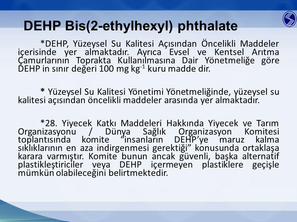 DEHP Bis(2-ethylhexyl) phthalate *DEHP, Yüzeysel Su Kalitesi Açısından Öncelikli Maddeler içerisinde yer almaktadır. Ayrıca Evsel ve Kentsel Arıtma Ça
