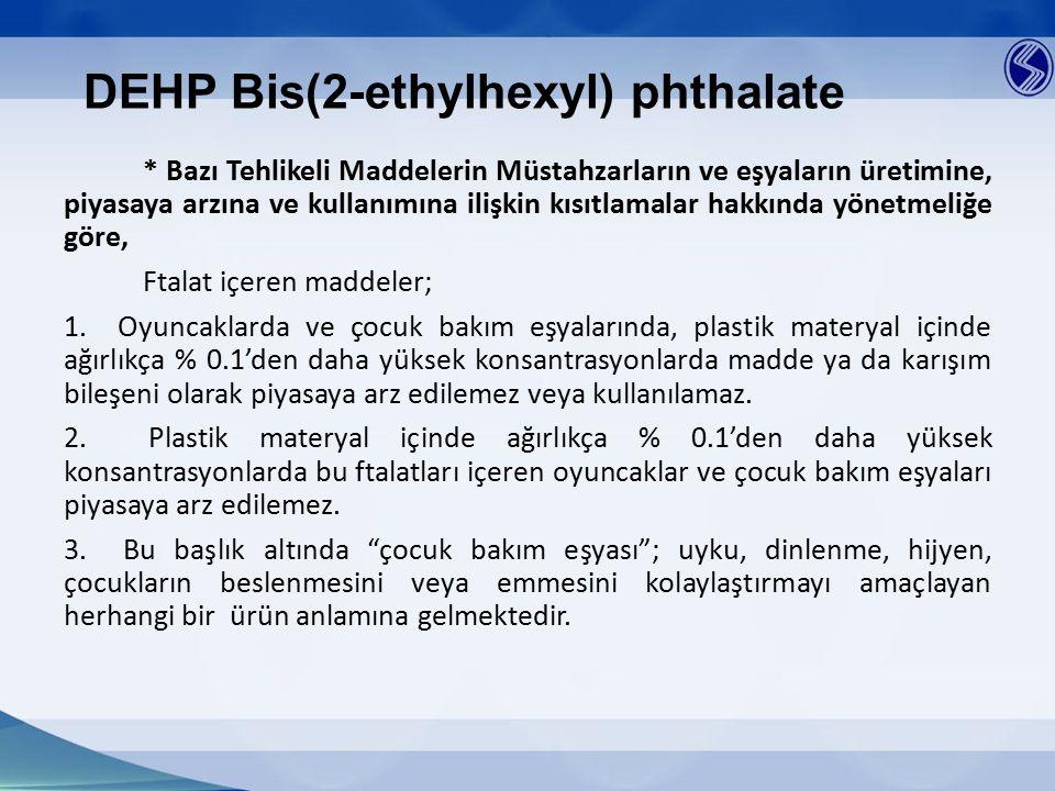 DEHP Bis(2-ethylhexyl) phthalate * Bazı Tehlikeli Maddelerin Müstahzarların ve eşyaların üretimine, piyasaya arzına ve kullanımına ilişkin kısıtlamala