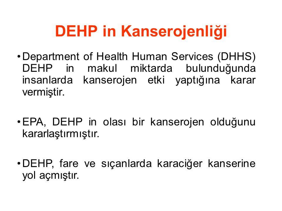 DEHP in Kanserojenliği Department of Health Human Services (DHHS) DEHP in makul miktarda bulunduğunda insanlarda kanserojen etki yaptığına karar vermi