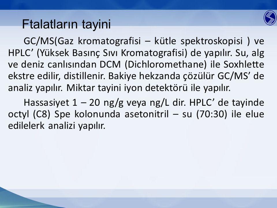 Ftalatların tayini GC/MS(Gaz kromatografisi – kütle spektroskopisi ) ve HPLC' (Yüksek Basınç Sıvı Kromatografisi) de yapılır. Su, alg ve deniz canlısı