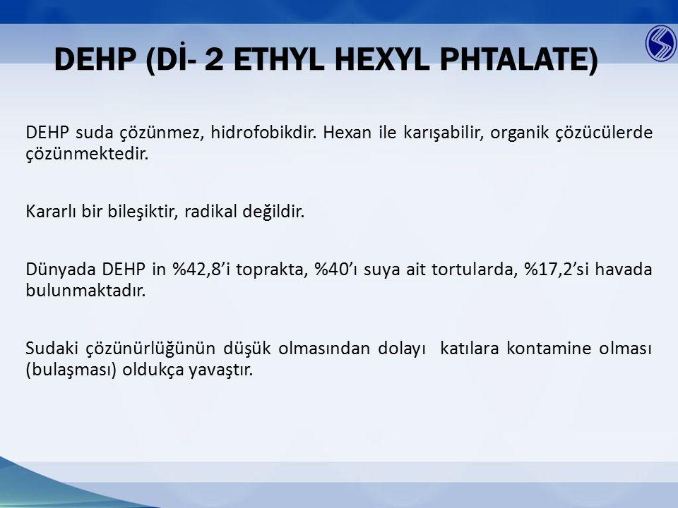 DEHP (Dİ- 2 ETHYL HEXYL PHTALATE) DEHP suda çözünmez, hidrofobikdir. Hexan ile karışabilir, organik çözücülerde çözünmektedir. Kararlı bir bileşiktir,