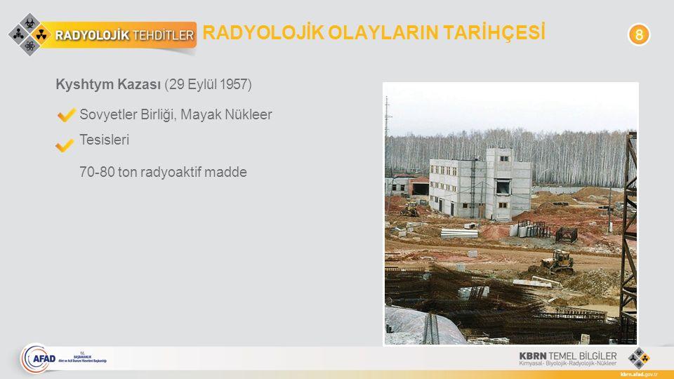 RADYOLOJİK OLAYLARIN TARİHÇESİ Kyshtym Kazası (29 Eylül 1957) Sovyetler Birliği, Mayak Nükleer Tesisleri 70-80 ton radyoaktif madde 8