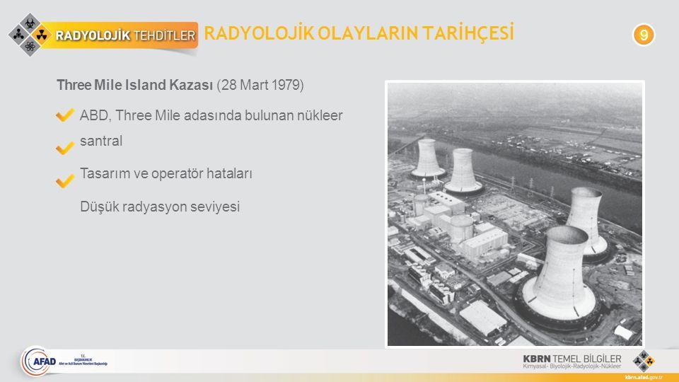 RADYOLOJİK OLAYLARIN TARİHÇESİ Three Mile Island Kazası (28 Mart 1979) ABD, Three Mile adasında bulunan nükleer santral Tasarım ve operatör hataları D