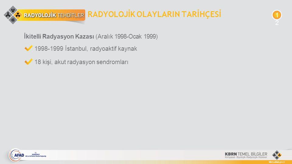RADYOLOJİK OLAYLARIN TARİHÇESİ İkitelli Radyasyon Kazası (Aralık 1998-Ocak 1999) 1998-1999 İstanbul, radyoaktif kaynak 18 kişi, akut radyasyon sendrom
