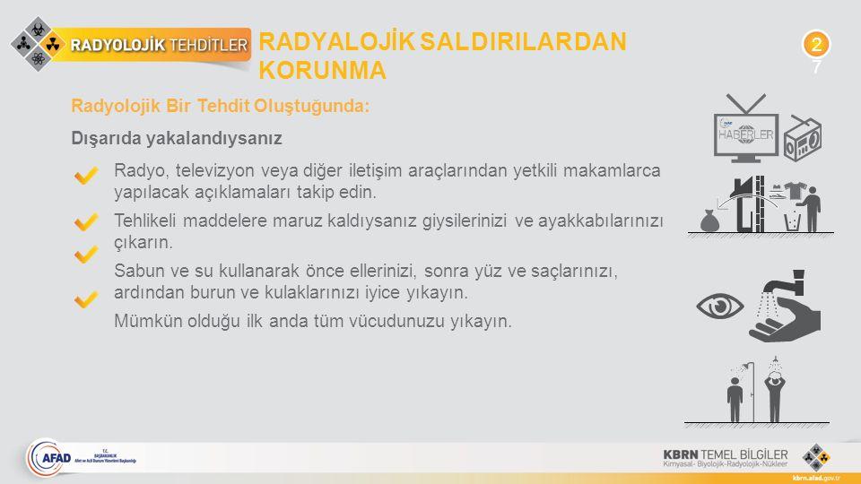Radyolojik Bir Tehdit Oluştuğunda: Dışarıda yakalandıysanız Radyo, televizyon veya diğer iletişim araçlarından yetkili makamlarca yapılacak açıklamala