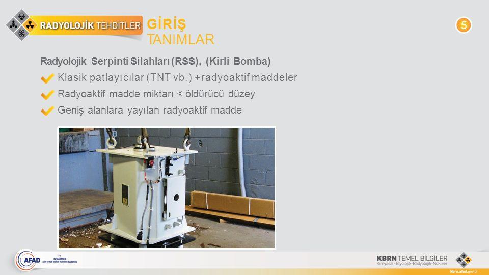 GİRİŞ TANIMLAR Radyolojik Serpinti Silahları (RSS), (Kirli Bomba) Klasik patlayıcılar (TNT vb.) +radyoaktif maddeler Radyoaktif madde miktarı < öldürü