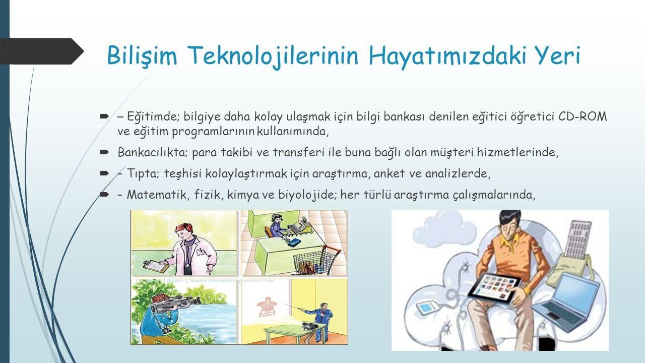 Bilişim Teknolojilerinin Hayatımızdaki Yeri  – Eğitimde; bilgiye daha kolay ulaşmak için bilgi bankası denilen eğitici öğretici CD-ROM ve eğitim prog