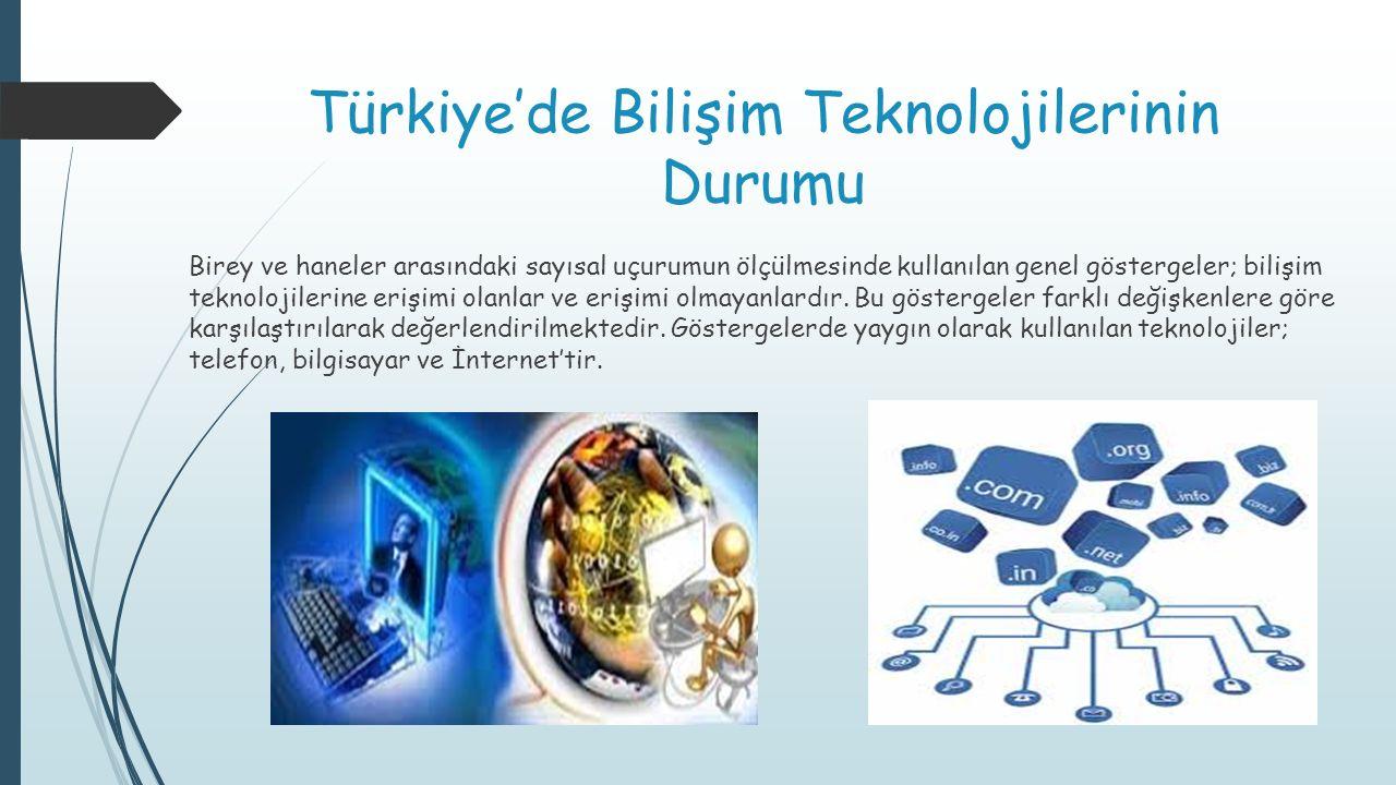Türkiye'de Bilişim Teknolojilerinin Durumu Birey ve haneler arasındaki sayısal uçurumun ölçülmesinde kullanılan genel göstergeler; bilişim teknolojile