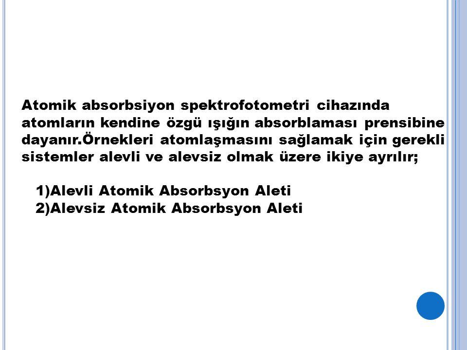 Atomik absorbsiyon spektrofotometri cihazında atomların kendine özgü ışığın absorblaması prensibine dayanır.Örnekleri atomlaşmasını sağlamak için gerekli sistemler alevli ve alevsiz olmak üzere ikiye ayrılır; 1)Alevli Atomik Absorbsyon Aleti 2)Alevsiz Atomik Absorbsyon Aleti