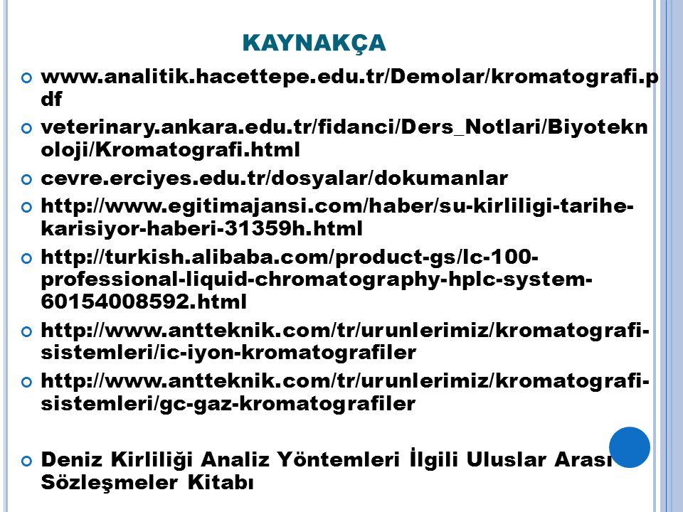 KAYNAKÇA www.analitik.hacettepe.edu.tr/Demolar/kromatografi.p df veterinary.ankara.edu.tr/fidanci/Ders_Notlari/Biyotekn oloji/Kromatografi.html cevre.erciyes.edu.tr/dosyalar/dokumanlar http://www.egitimajansi.com/haber/su-kirliligi-tarihe- karisiyor-haberi-31359h.html http://turkish.alibaba.com/product-gs/lc-100- professional-liquid-chromatography-hplc-system- 60154008592.html http://www.antteknik.com/tr/urunlerimiz/kromatografi- sistemleri/ic-iyon-kromatografiler http://www.antteknik.com/tr/urunlerimiz/kromatografi- sistemleri/gc-gaz-kromatografiler Deniz Kirliliği Analiz Yöntemleri İlgili Uluslar Arası Sözleşmeler Kitabı