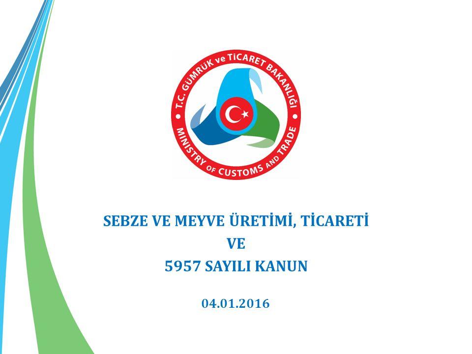 SEBZE VE MEYVE ÜRETİMİ, TİCARETİ VE 5957 SAYILI KANUN 04.01.2016
