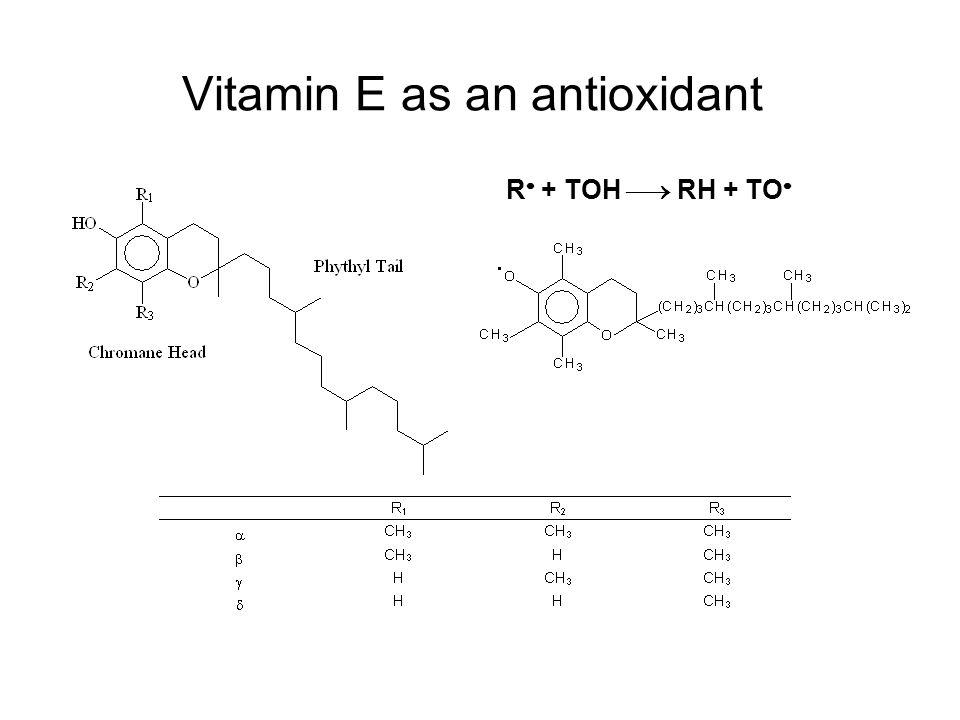 Vitamin E as an antioxidant R  + TOH  RH + TO 
