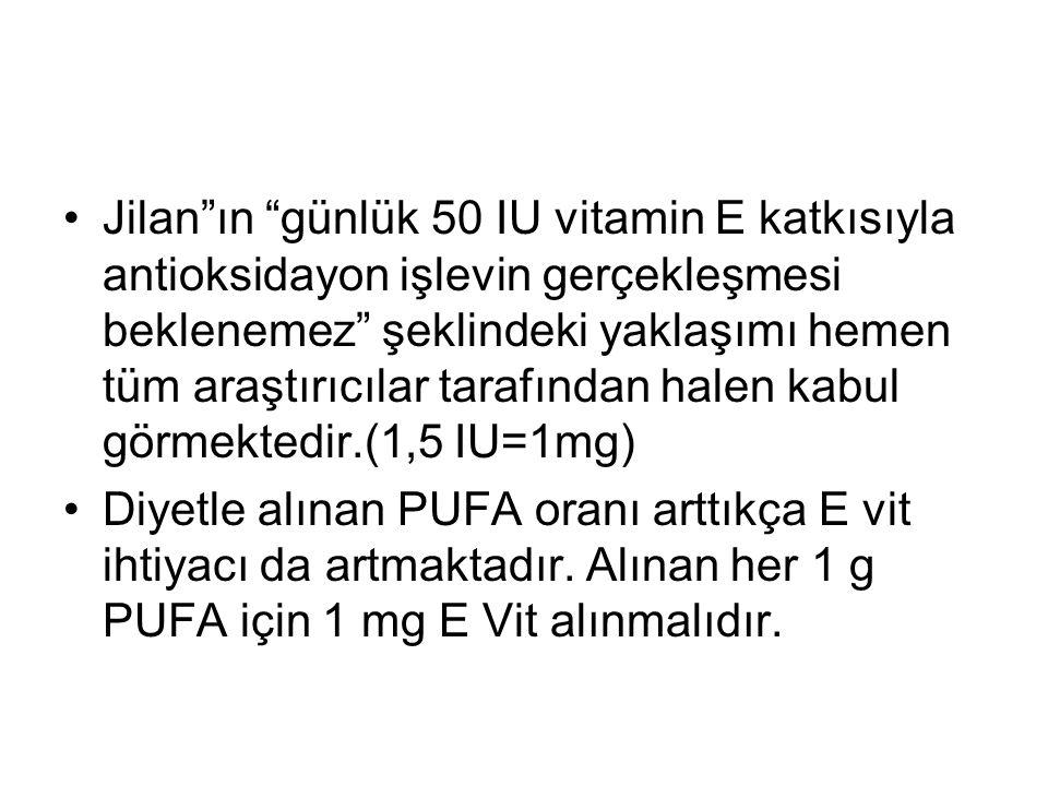 """Jilan""""ın """"günlük 50 IU vitamin E katkısıyla antioksidayon işlevin gerçekleşmesi beklenemez"""" şeklindeki yaklaşımı hemen tüm araştırıcılar tarafından ha"""