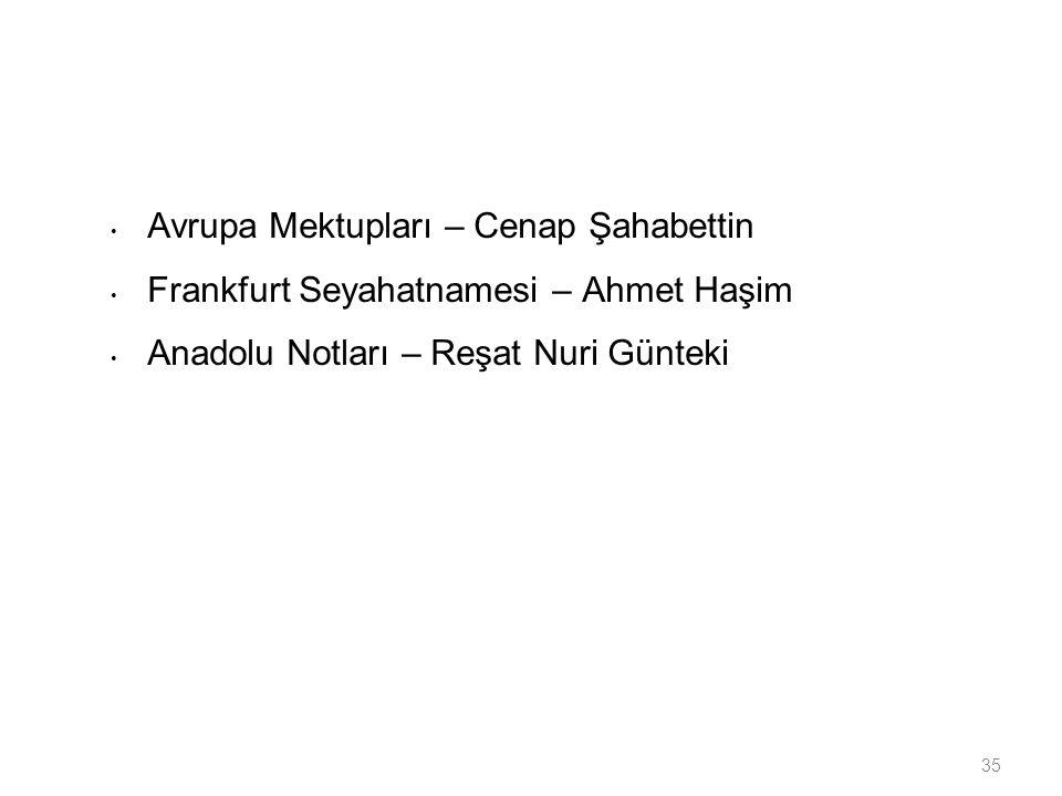 35 Avrupa Mektupları – Cenap Şahabettin Frankfurt Seyahatnamesi – Ahmet Haşim Anadolu Notları – Reşat Nuri Günteki