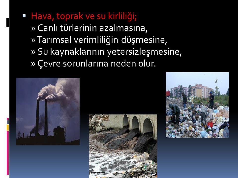  Hava, toprak ve su kirliliği; » Canlı türlerinin azalmasına, » Tarımsal verimliliğin düşmesine, » Su kaynaklarının yetersizleşmesine, » Çevre sorunl