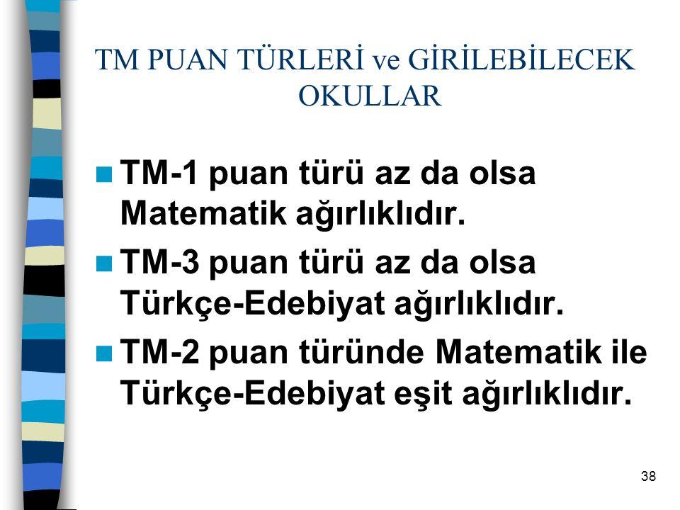 38 TM PUAN TÜRLERİ ve GİRİLEBİLECEK OKULLAR TM-1 puan türü az da olsa Matematik ağırlıklıdır.
