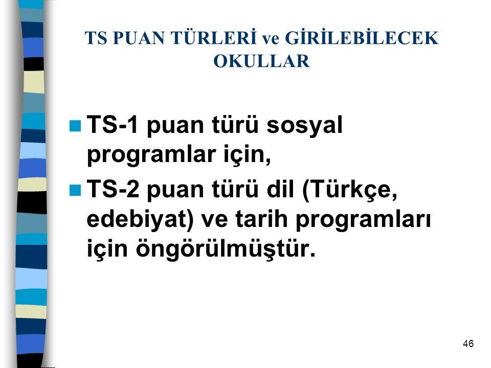 46 TS PUAN TÜRLERİ ve GİRİLEBİLECEK OKULLAR TS-1 puan türü sosyal programlar için, TS-2 puan türü dil (Türkçe, edebiyat) ve tarih programları için öngörülmüştür.