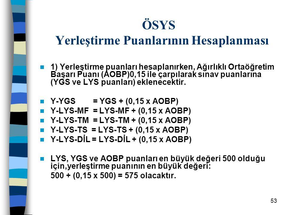 53 ÖSYS Yerleştirme Puanlarının Hesaplanması 1) Yerleştirme puanları hesaplanırken, Ağırlıklı Ortaöğretim Başarı Puanı (AOBP)0,15 ile çarpılarak sınav puanlarına (YGS ve LYS puanları) eklenecektir.