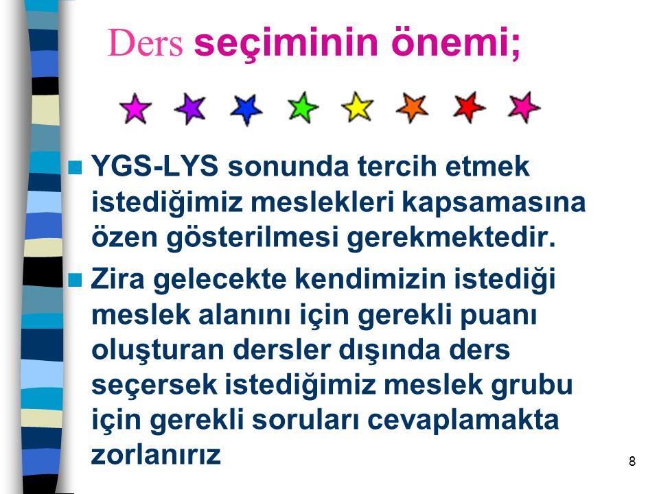8 Ders seçiminin önemi; YGS-LYS sonunda tercih etmek istediğimiz meslekleri kapsamasına özen gösterilmesi gerekmektedir.