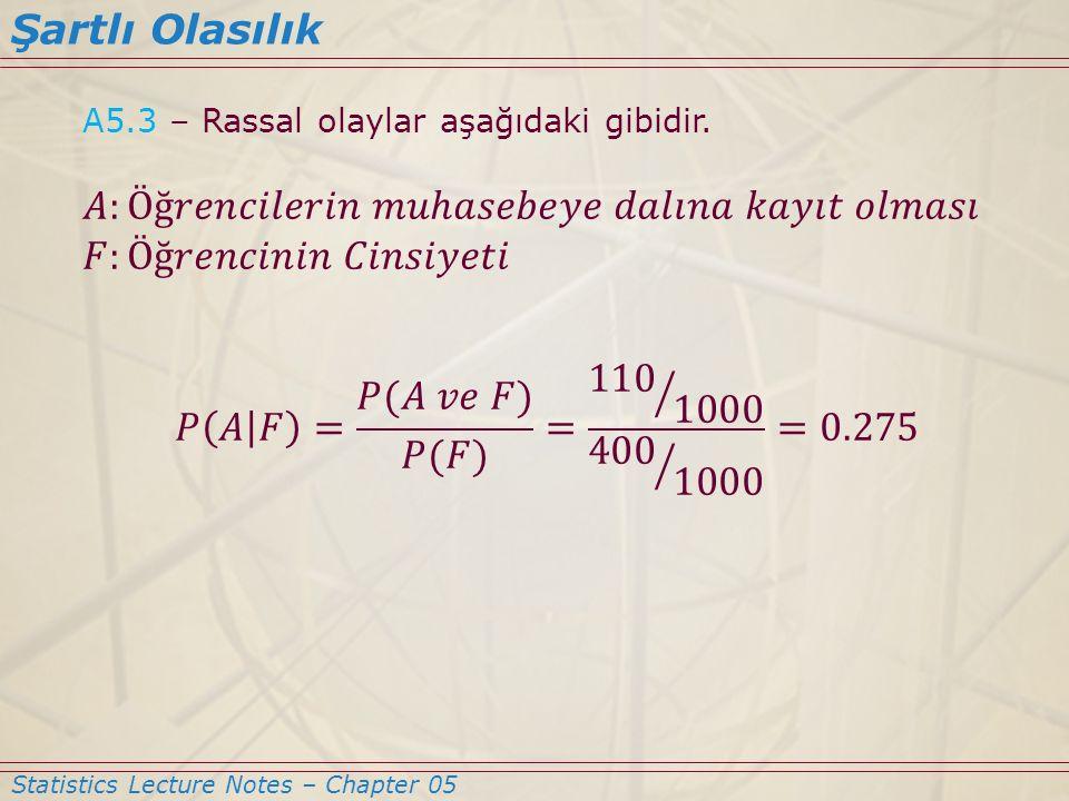 Statistics Lecture Notes – Chapter 05 Şartlı Olasılık