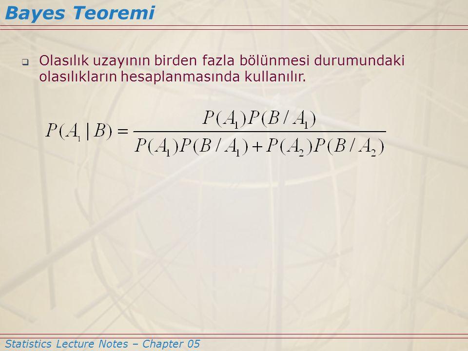  Olasılık uzayının birden fazla bölünmesi durumundaki olasılıkların hesaplanmasında kullanılır. Statistics Lecture Notes – Chapter 05 Bayes Teoremi