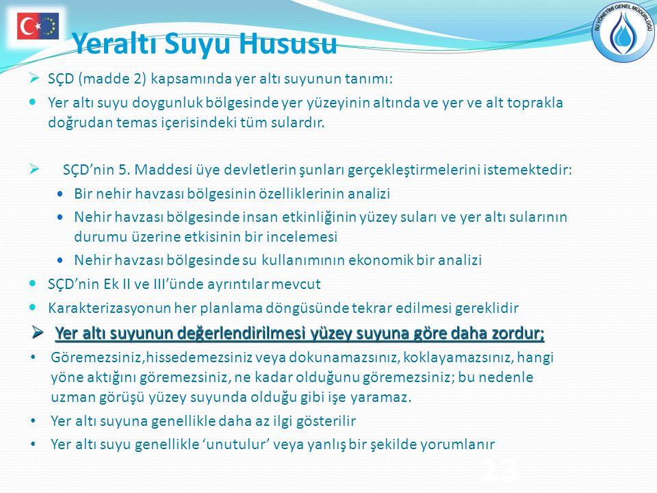 23 Yeraltı Suyu Hususu  SÇD (madde 2) kapsamında yer altı suyunun tanımı: Yer altı suyu doygunluk bölgesinde yer yüzeyinin altında ve yer ve alt topr