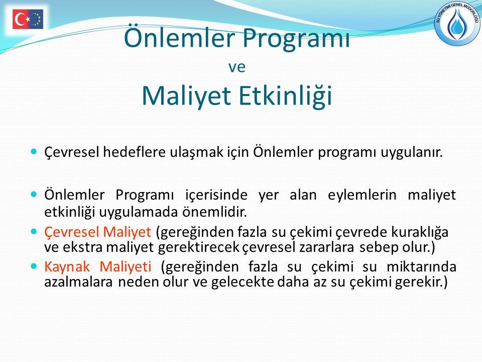 Önlemler Programı ve Maliyet Etkinliği Çevresel hedeflere ulaşmak için Önlemler programı uygulanır. Önlemler Programı içerisinde yer alan eylemlerin m