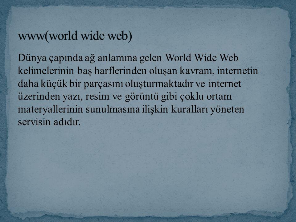 Dünya çapında ağ anlamına gelen World Wide Web kelimelerinin baş harflerinden oluşan kavram, internetin daha küçük bir parçasını oluşturmaktadır ve internet üzerinden yazı, resim ve görüntü gibi çoklu ortam materyallerinin sunulmasına ilişkin kuralları yöneten servisin adıdır.