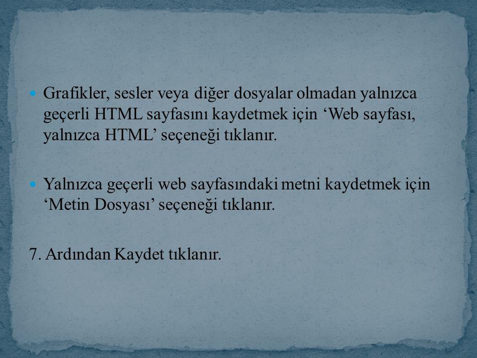 Grafikler, sesler veya diğer dosyalar olmadan yalnızca geçerli HTML sayfasını kaydetmek için 'Web sayfası, yalnızca HTML' seçeneği tıklanır. Yalnızca