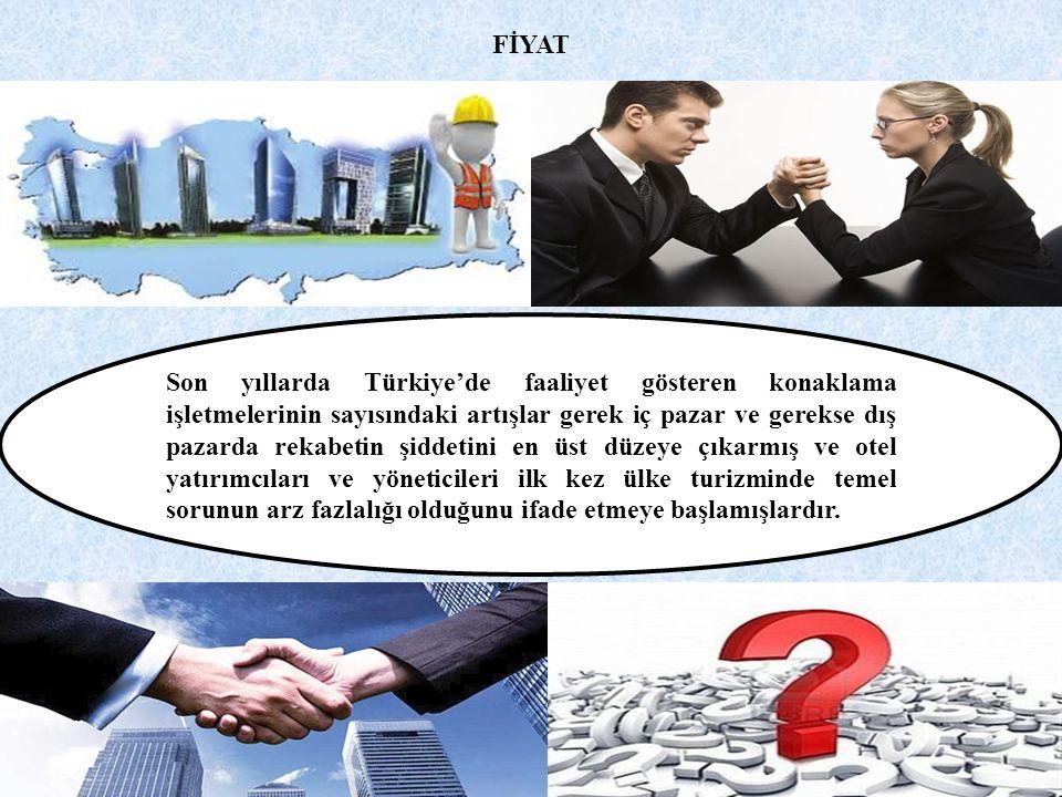 FİYAT Son yıllarda Türkiye'de faaliyet gösteren konaklama işletmelerinin sayısındaki artışlar gerek iç pazar ve gerekse dış pazarda rekabetin şiddetini en üst düzeye çıkarmış ve otel yatırımcıları ve yöneticileri ilk kez ülke turizminde temel sorunun arz fazlalığı olduğunu ifade etmeye başlamışlardır.