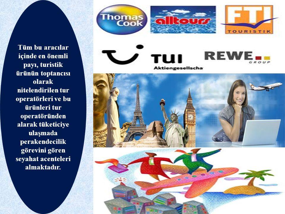 Tüm bu aracılar içinde en önemli payı, turistik ürünün toptancısı olarak nitelendirilen tur operatörleri ve bu ürünleri tur operatöründen alarak tüketiciye ulaşmada perakendecilik görevini gören seyahat acenteleri almaktadır.