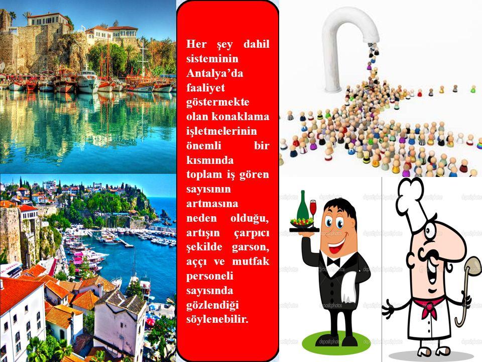 Her şey dahil sisteminin Antalya'da faaliyet göstermekte olan konaklama işletmelerinin önemli bir kısmında toplam iş gören sayısının artmasına neden o