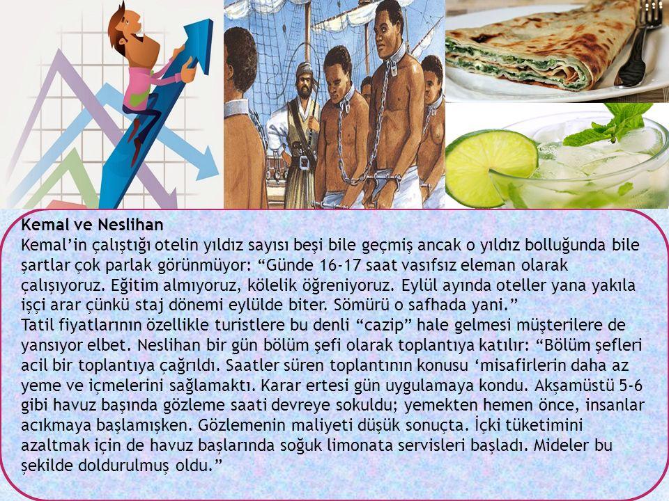 """Kemal ve Neslihan Kemal'in çalıştığı otelin yıldız sayısı beşi bile geçmiş ancak o yıldız bolluğunda bile şartlar çok parlak görünmüyor: """"Günde 16-17"""