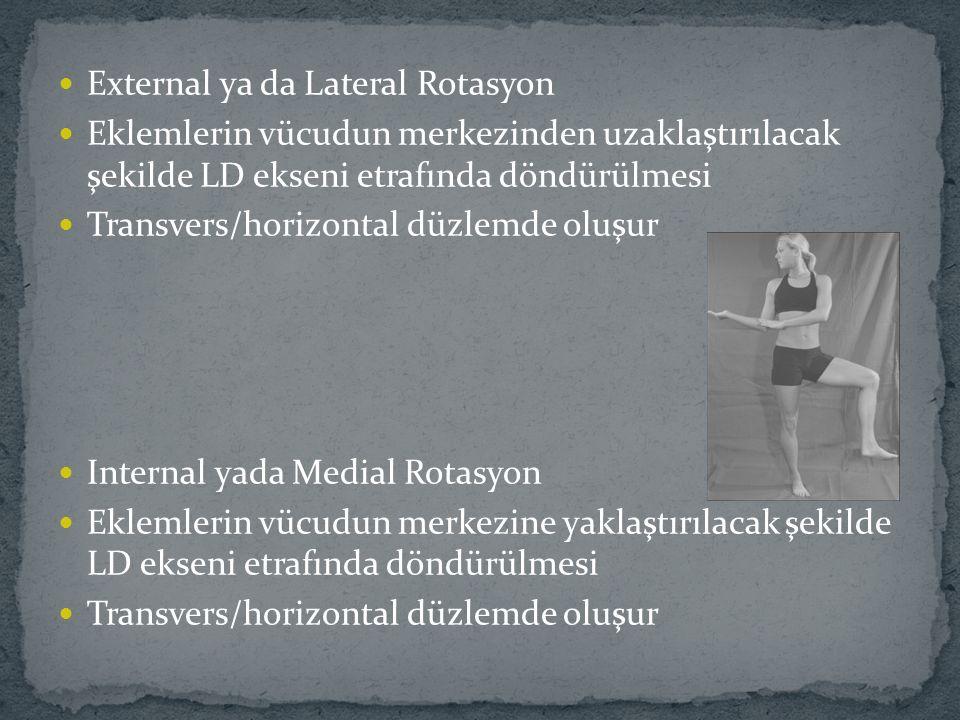 External ya da Lateral Rotasyon Eklemlerin vücudun merkezinden uzaklaştırılacak şekilde LD ekseni etrafında döndürülmesi Transvers/horizontal düzlemde