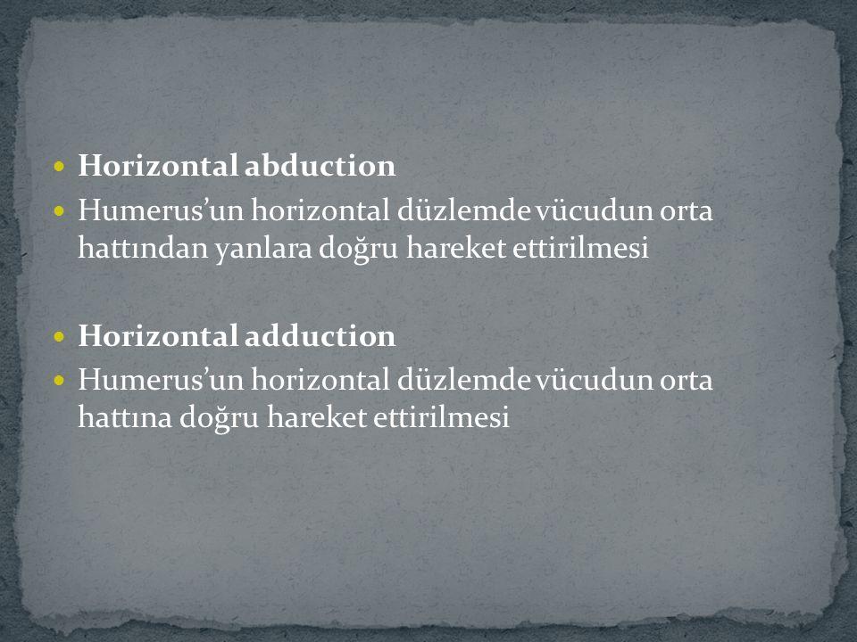 Horizontal abduction Humerus'un horizontal düzlemde vücudun orta hattından yanlara doğru hareket ettirilmesi Horizontal adduction Humerus'un horizonta