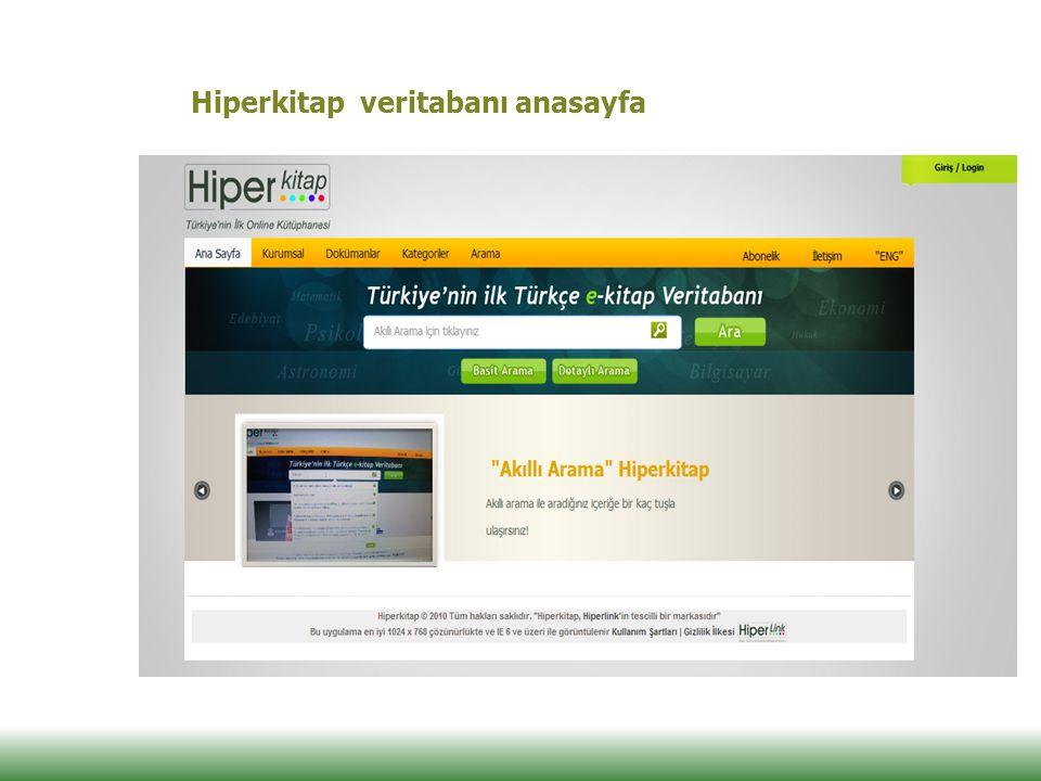 Hiperkitap veritabanı anasayfa