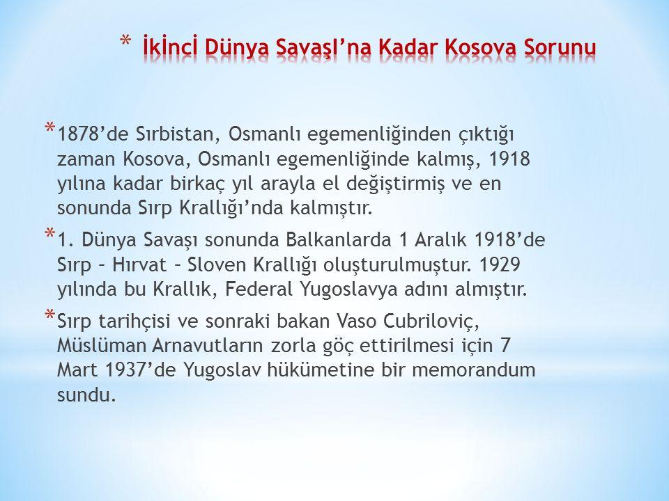 * 1945 ilkbaharında Tito önderliğindeki Yugoslav Partizanlarının bölgeyi ele geçirmesiyle Kosova Sırplar tarafından yeniden işgal edildi ve Sırbistan'ın özerk bir ili haline geldi.