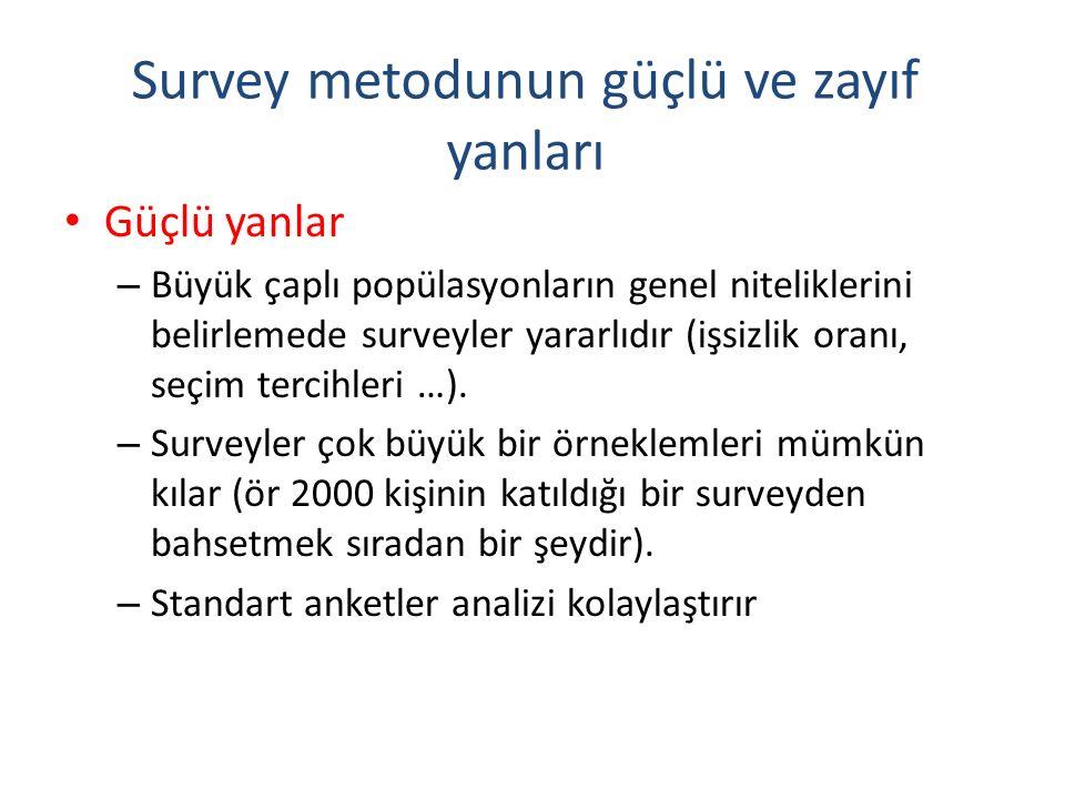 Survey metodunun güçlü ve zayıf yanları Güçlü yanlar – Büyük çaplı popülasyonların genel niteliklerini belirlemede surveyler yararlıdır (işsizlik oran