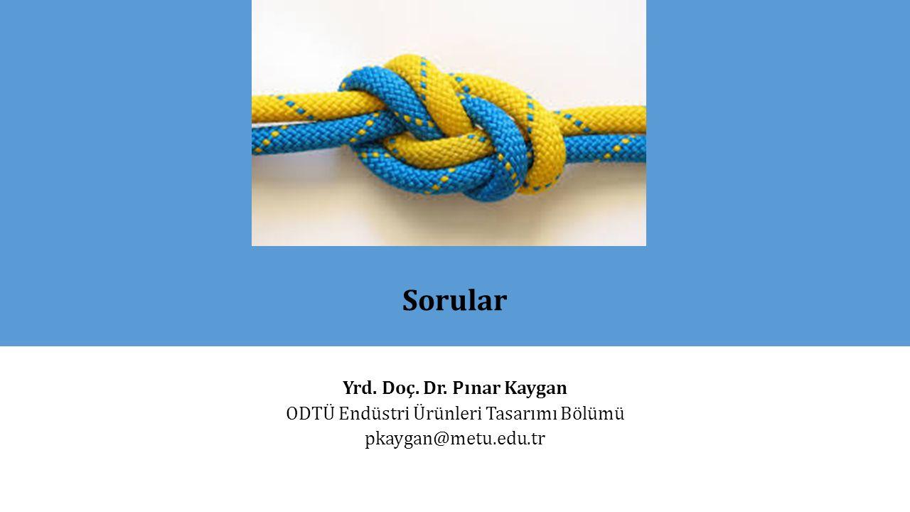 Sorular Yrd. Doç. Dr. Pınar Kaygan ODTÜ Endüstri Ürünleri Tasarımı Bölümü pkaygan@metu.edu.tr