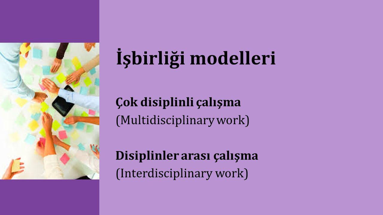 İşbirliği modelleri Çok disiplinli çalışma (Multidisciplinary work) Disiplinler arası çalışma (Interdisciplinary work)