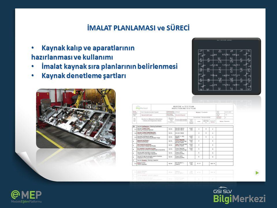 İMALAT PLANLAMASI ve SÜRECİ Kaynak kalıp ve aparatlarının Kaynak kalıp ve aparatlarının hazırlanması ve kullanımı İmalat kaynak sıra planlarının belir