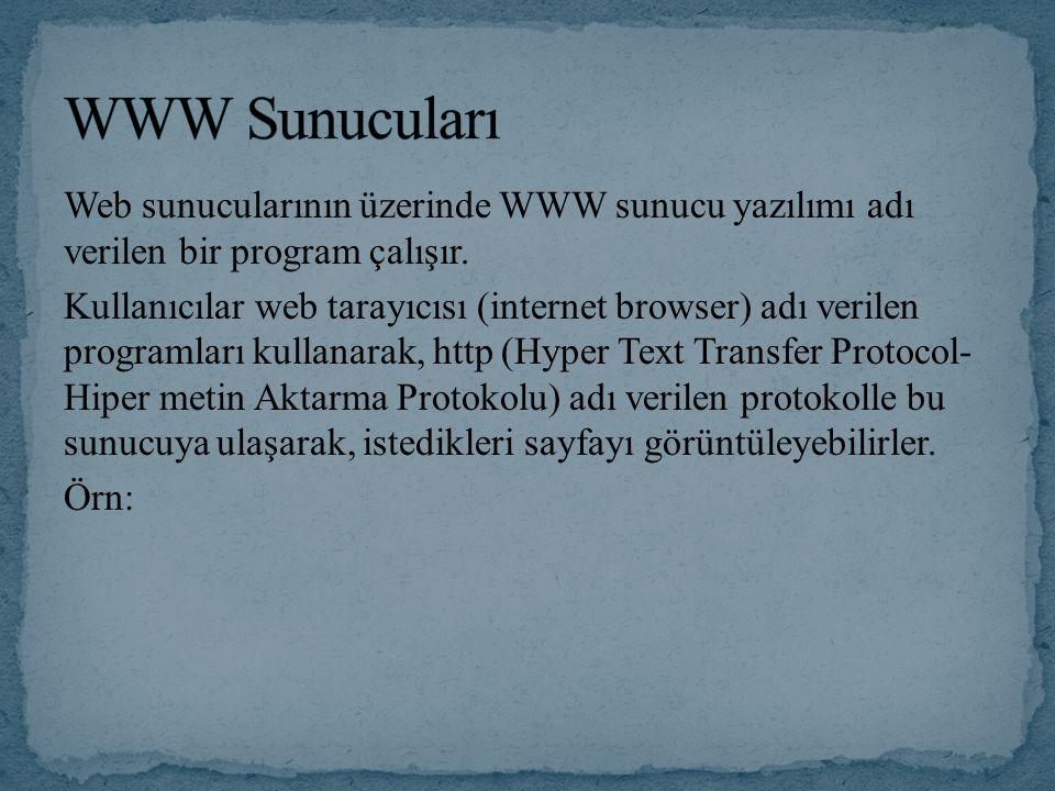 Web sunucularının üzerinde WWW sunucu yazılımı adı verilen bir program çalışır.