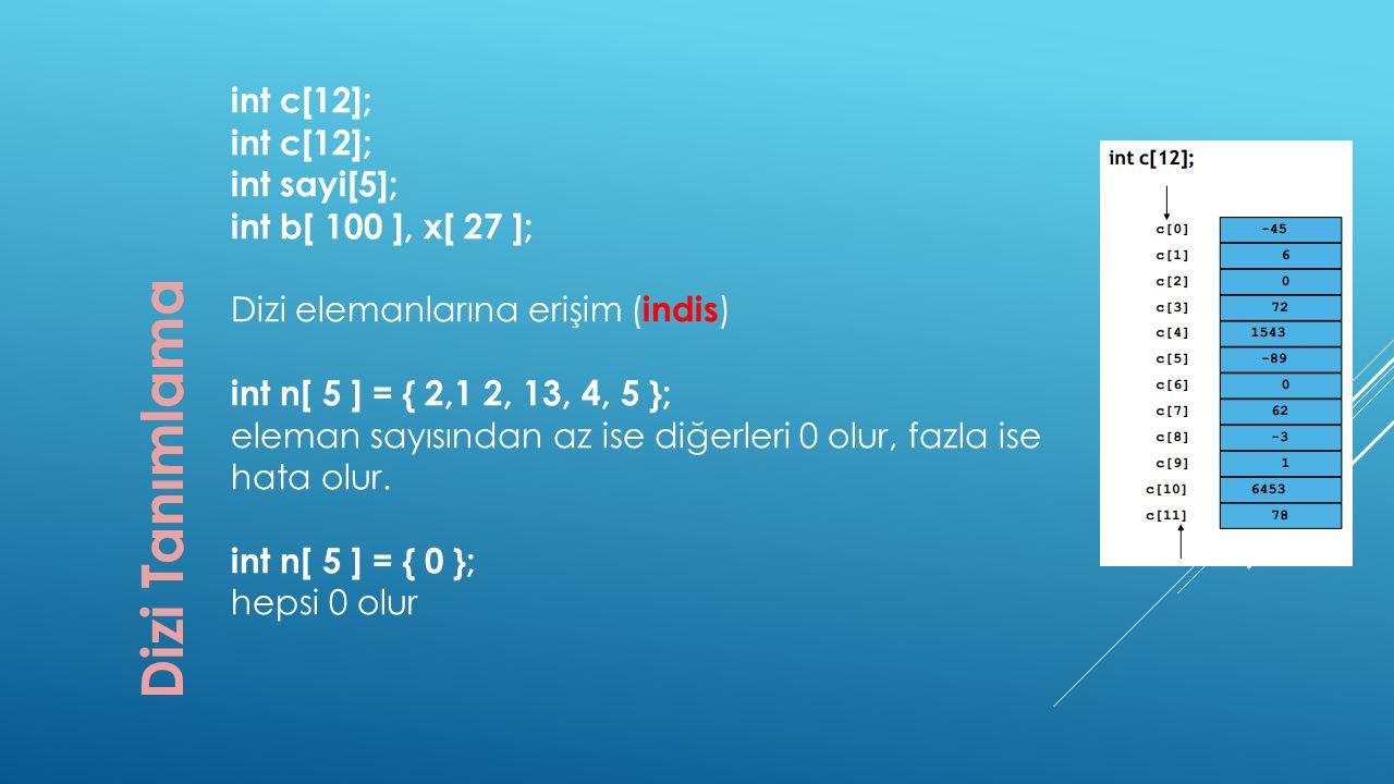 Dizi Tanımlama int c[12]; int sayi[5]; int b[ 100 ], x[ 27 ]; Dizi elemanlarına erişim ( indis ) int n[ 5 ] = { 2,1 2, 13, 4, 5 }; eleman sayısından a