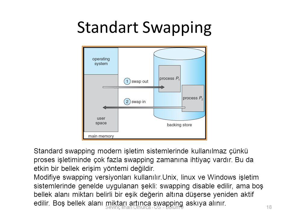 Standart Swapping Sevinç İlhan Omurca - OS - Bolum 918 Standard swapping modern işletim sistemlerinde kullanılmaz çünkü proses işletiminde çok fazla s