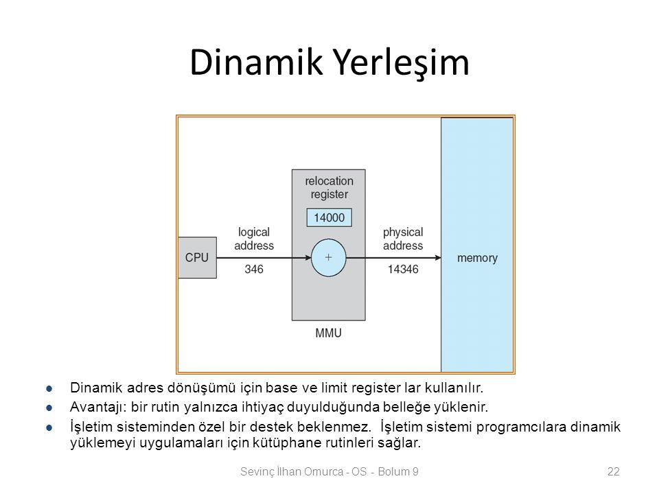 Dinamik Yerleşim Sevinç İlhan Omurca - OS - Bolum 922 Dinamik adres dönüşümü için base ve limit register lar kullanılır. Avantajı: bir rutin yalnızca