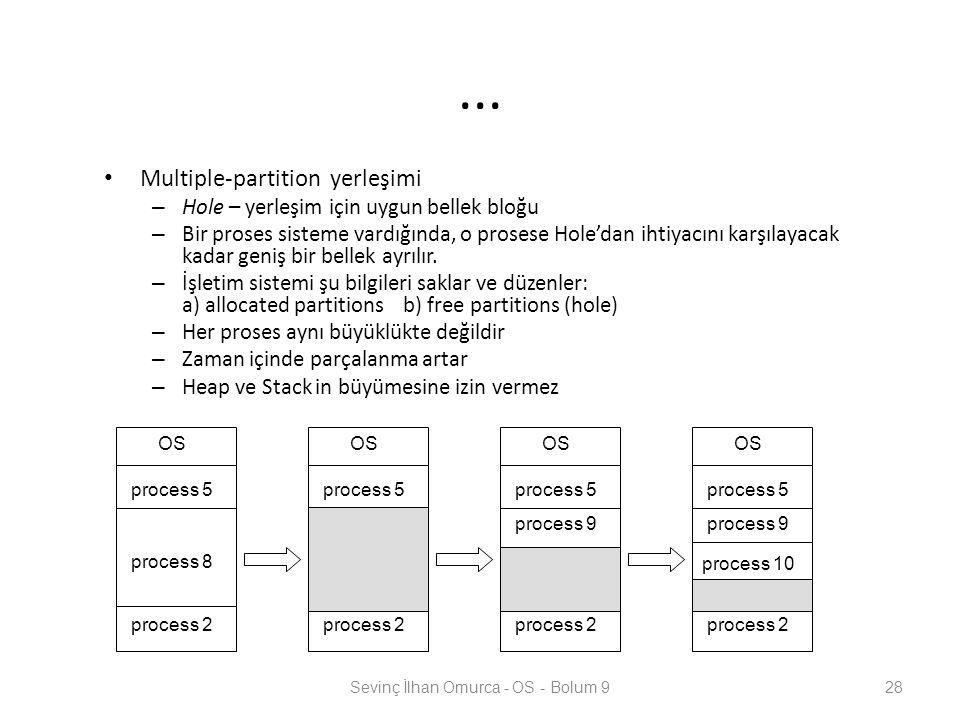 ... Multiple-partition yerleşimi – Hole – yerleşim için uygun bellek bloğu – Bir proses sisteme vardığında, o prosese Hole'dan ihtiyacını karşılayacak